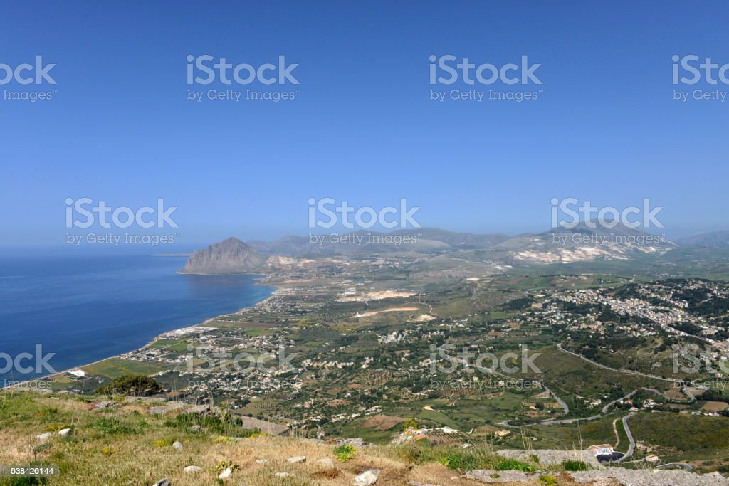 View towards Mount Hood, North West Sicily stock photo