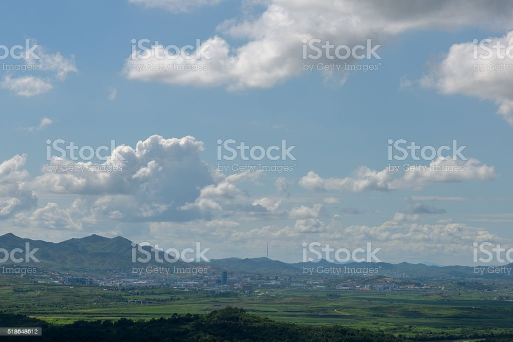 View towards North Korean city of Kaesong stock photo