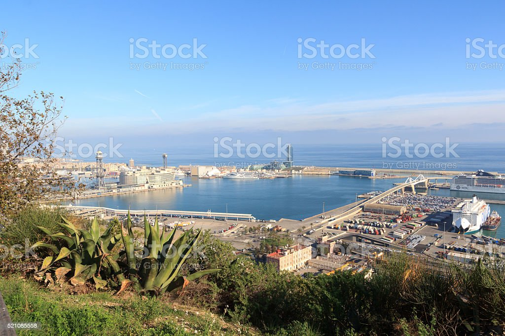 View towards Port of Barcelona from Montjuic, Spain stock photo