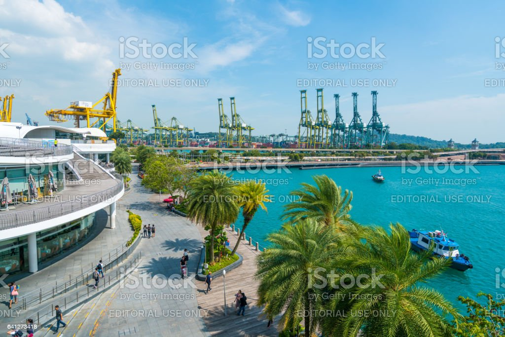 View towards Sentosa from HarbourFront, Singapore stock photo