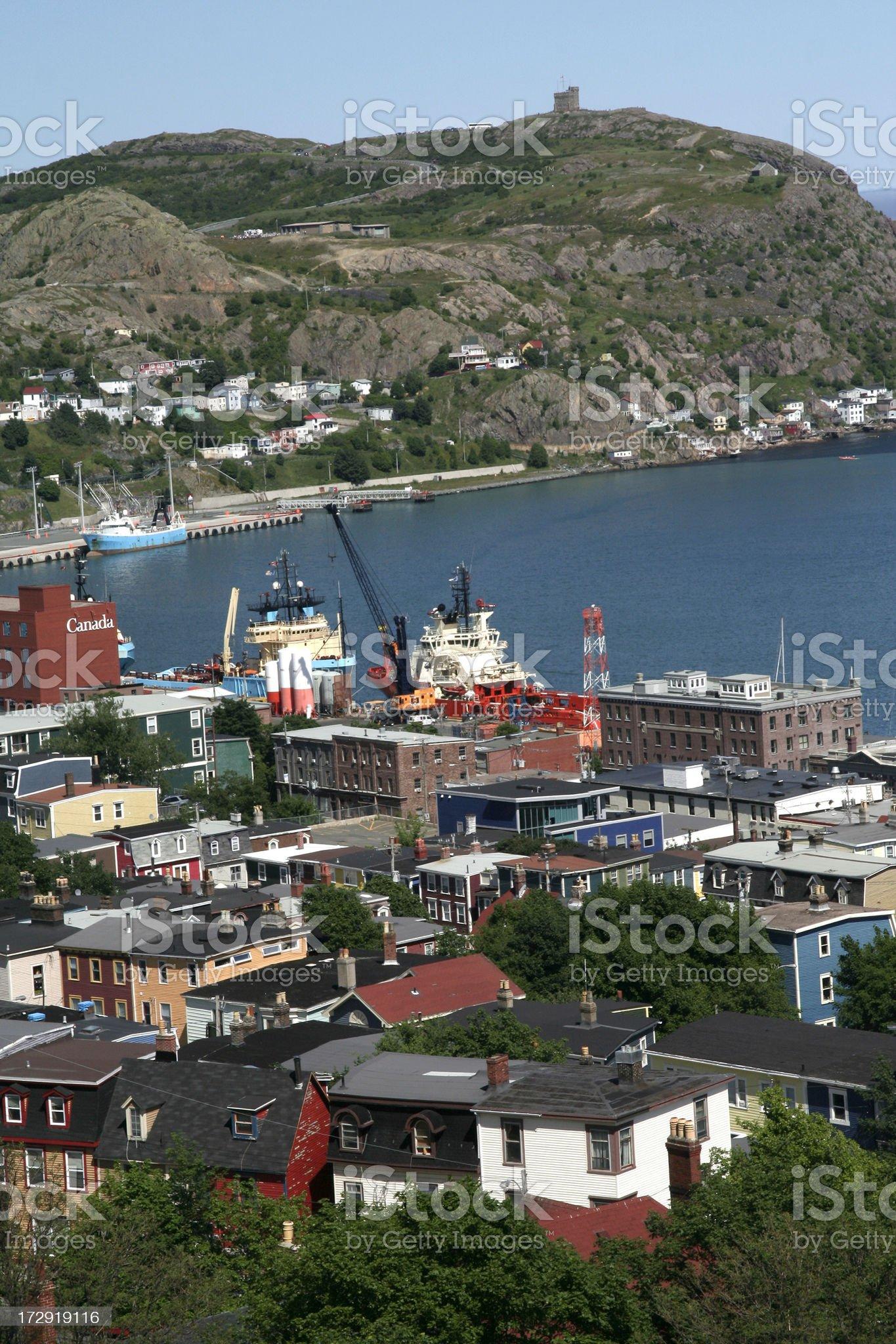 View towards Signal Hill, St John's, Newfoundland royalty-free stock photo