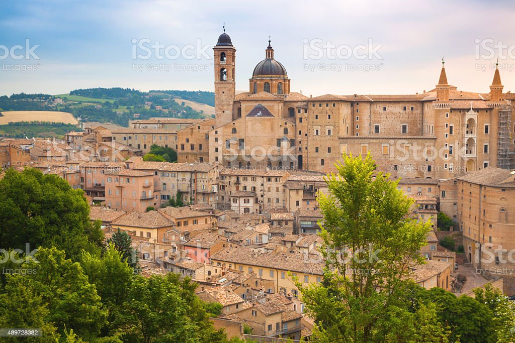 View towards the historical center of Urbino stock photo