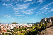 View towards the Mount Lycabettus from the Areopagus in Athens