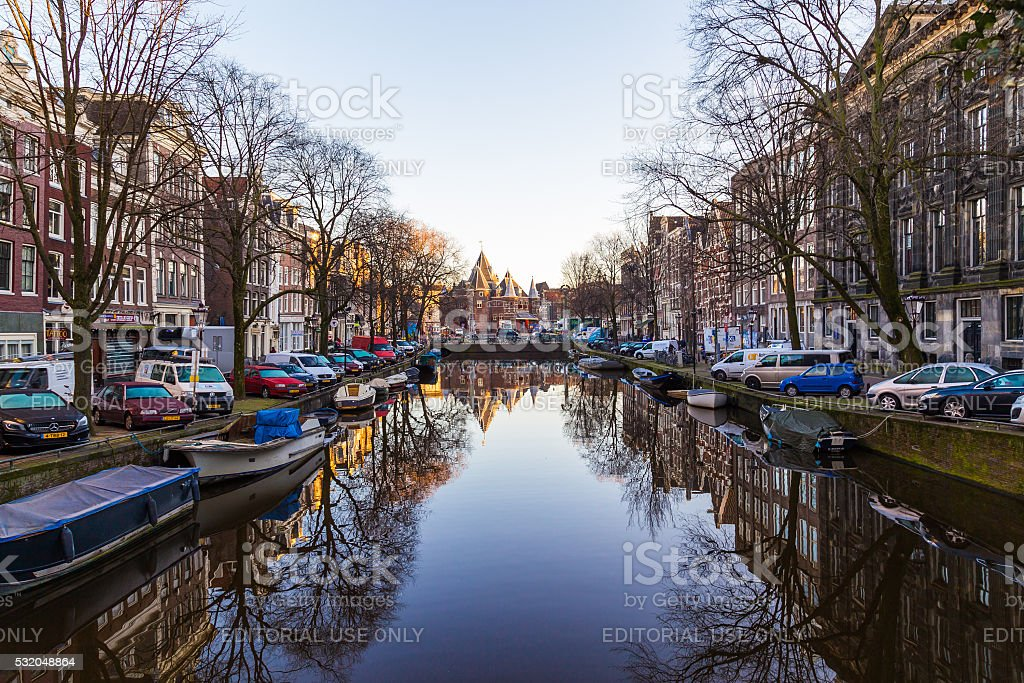 View towards The Waag ('weigh house')  in Amsterdam stock photo