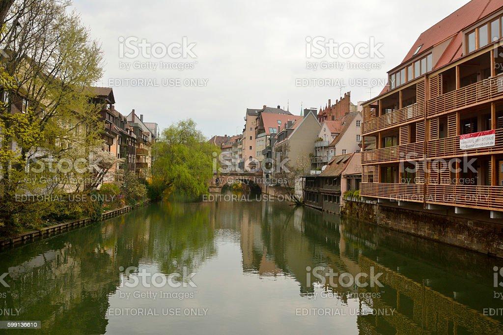 View towards Trodelmarkt bridge in Nuremberg stock photo