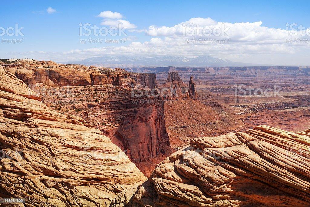 View towards Washer Woman Arch, Canyonlands, Moab, Utah, USA stock photo