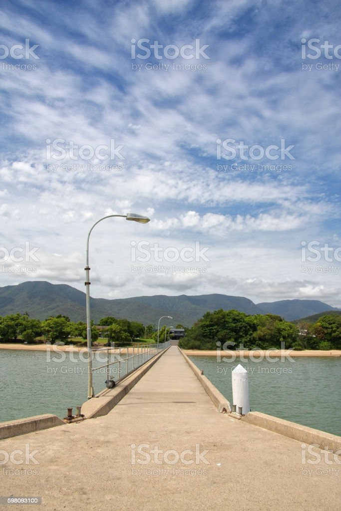 View up Cardwell Jetty stock photo