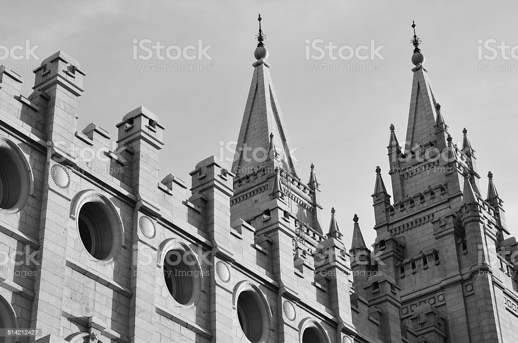 View Up of Salt Lake Temple in Black and White stock photo