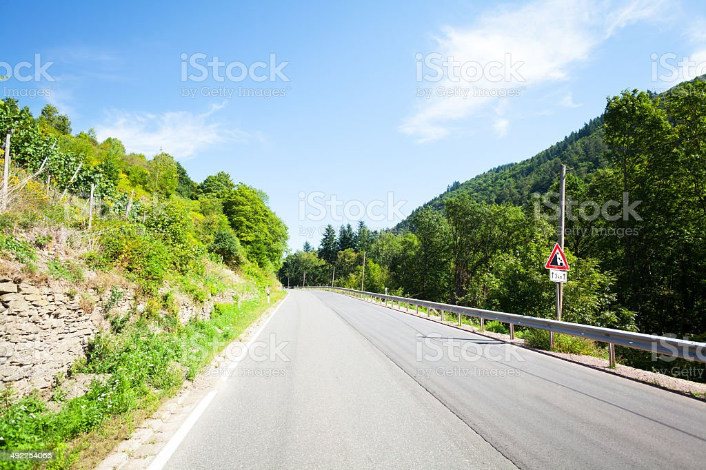 View up road L 421 and valley Lienischbachtal stock photo