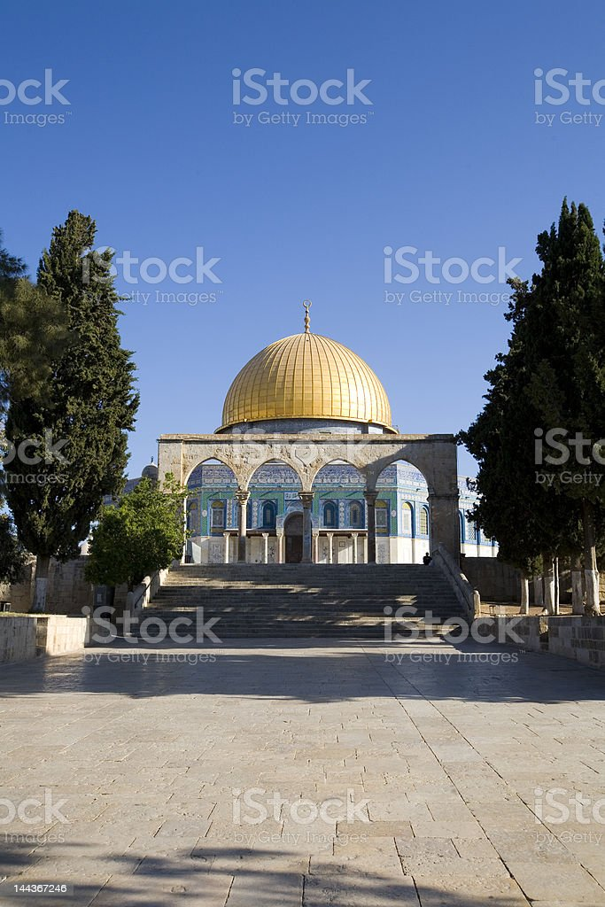View up to Dome of the Rock stock photo
