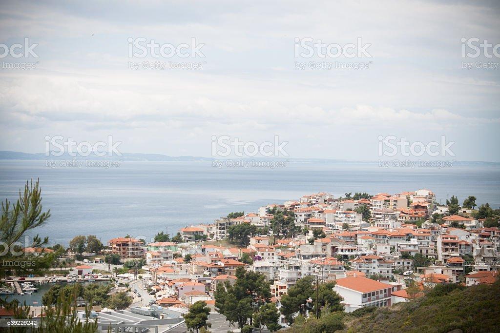 View upon Neos Marmaras, Chalkidiki, Greece stock photo