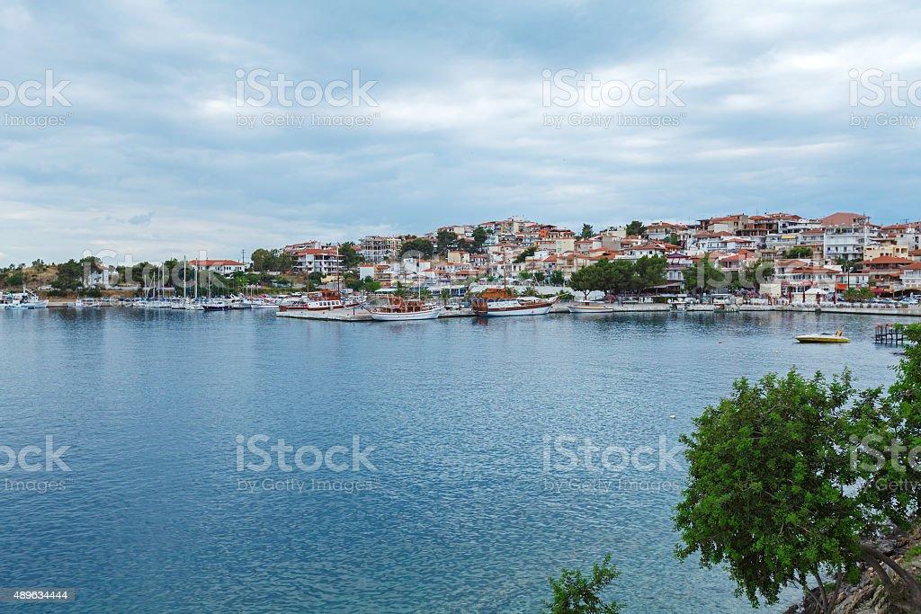 View upon Neos Marmaras, Chalkidiki stock photo