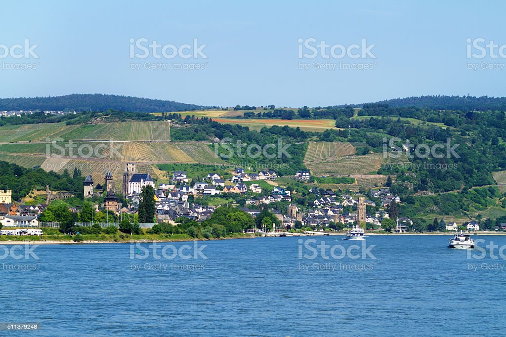 View upsream Rhine to Oberwesel stock photo
