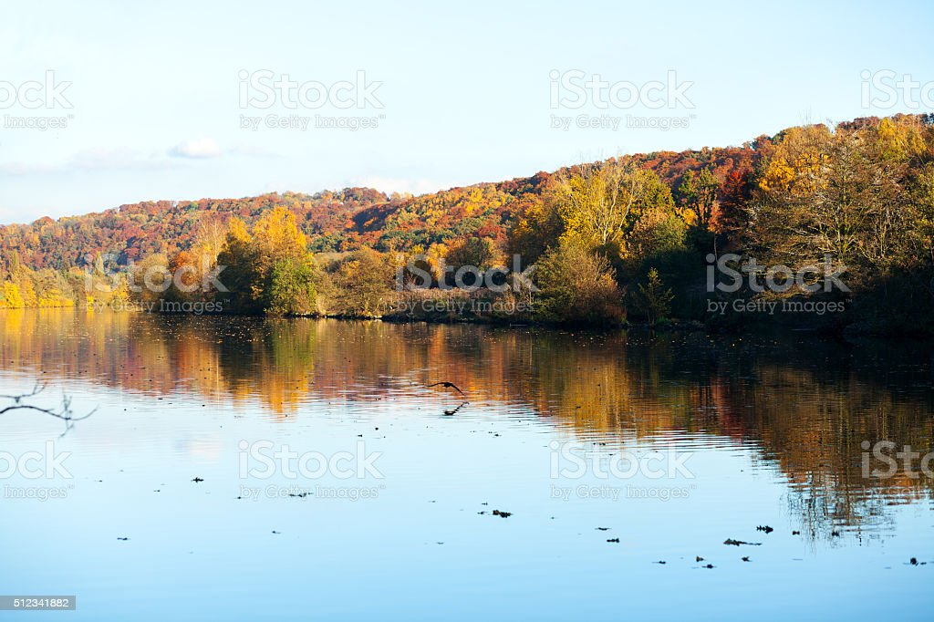 View upstream Ruhr in autumn stock photo