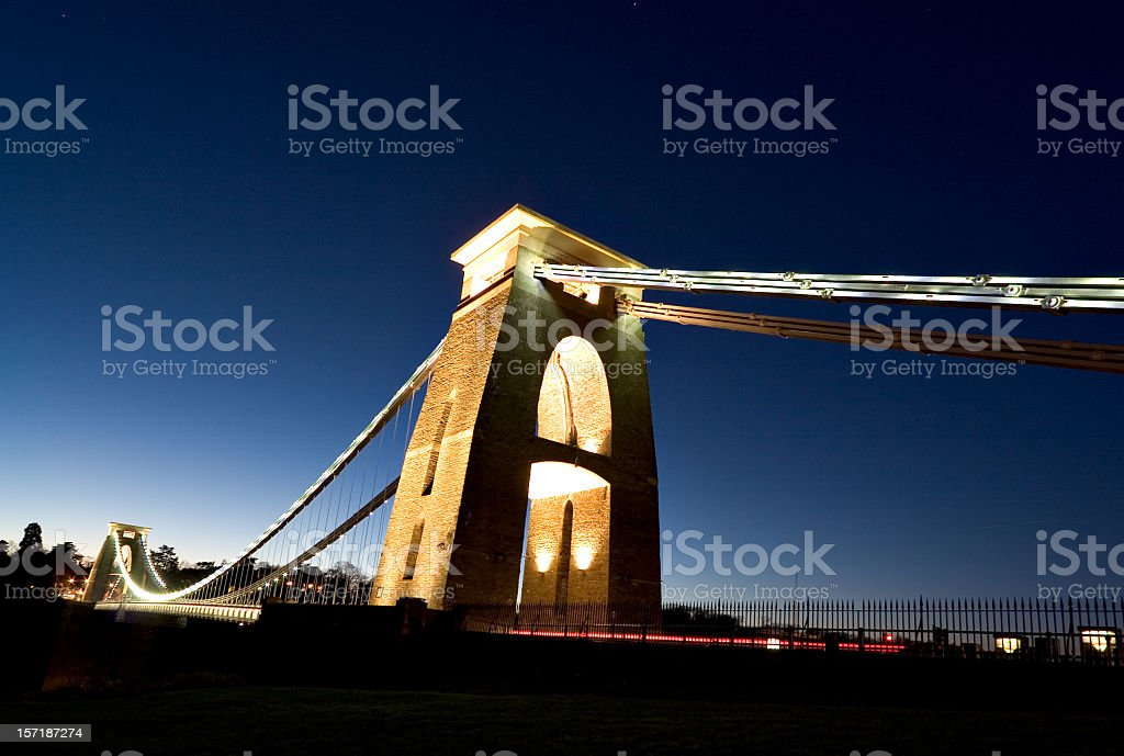 A view upwards of Clifton Suspension Bridge at night stock photo