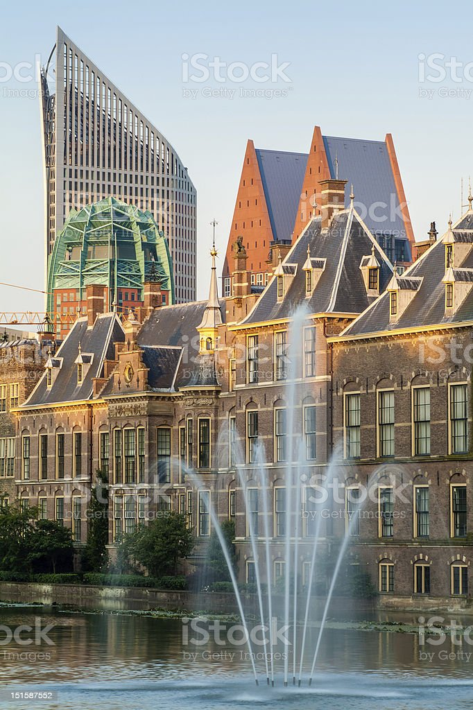 View with fountain at the Dutch parliament buildings stock photo