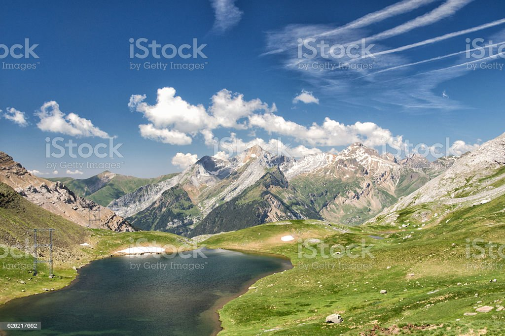 View with lake and mountain in Gavarnie, Pyrenees stock photo