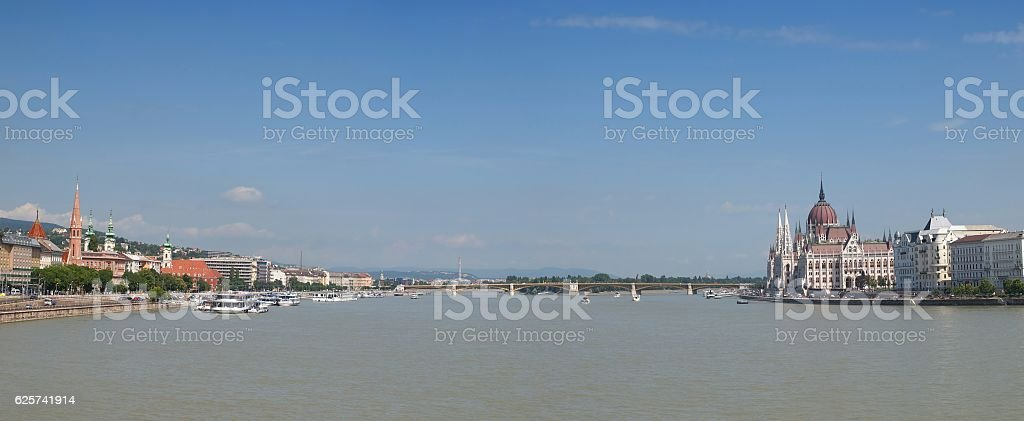 View with Margaret Bridge and Parliament Palace Budapest, Hungary stock photo