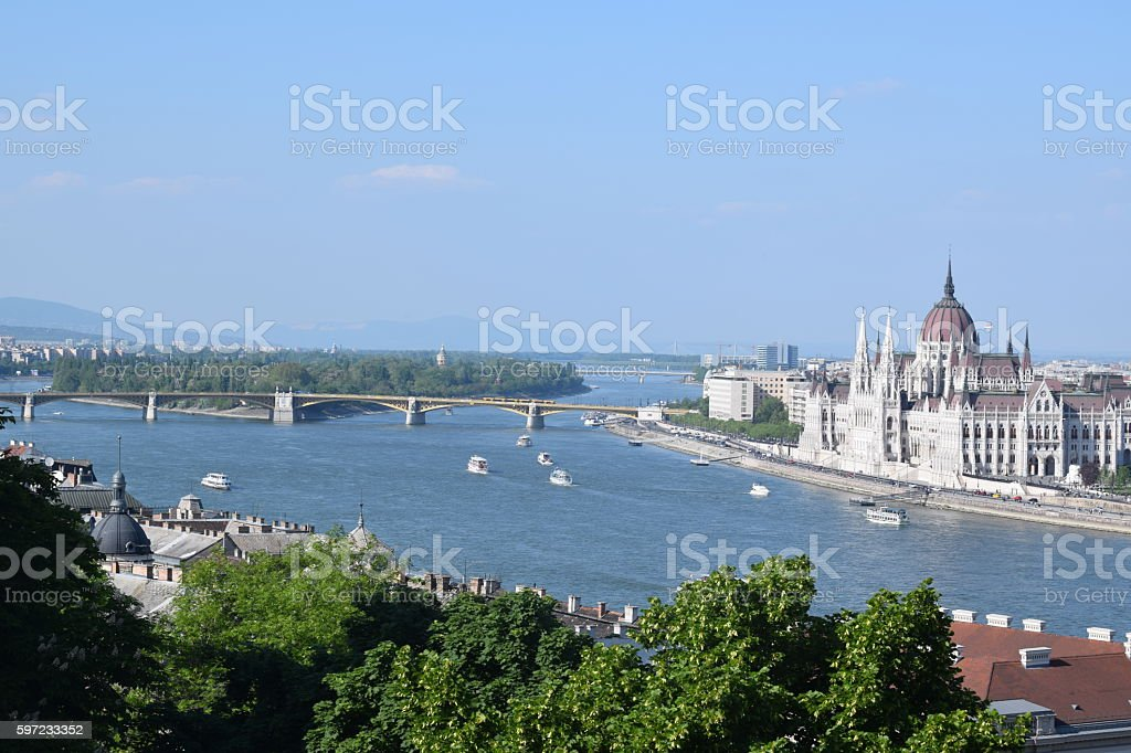 View with the Hungarian Parliament stock photo
