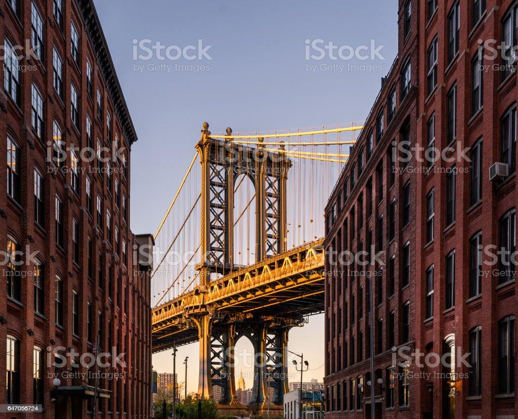 NYC viewed from brooklyn street stock photo
