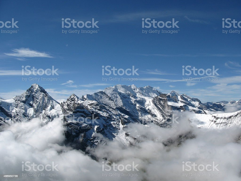 Viewed from Schilthorn with low mist stock photo