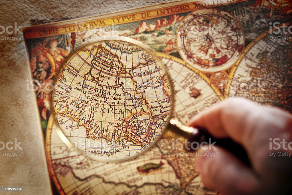 Viewed through a magnifying glass North America. royalty-free stock photo