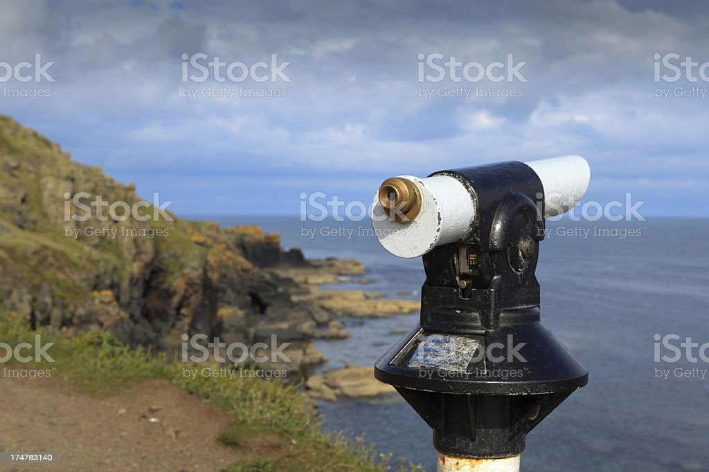 viewer at Lizard Point in Cornwall royalty-free stock photo