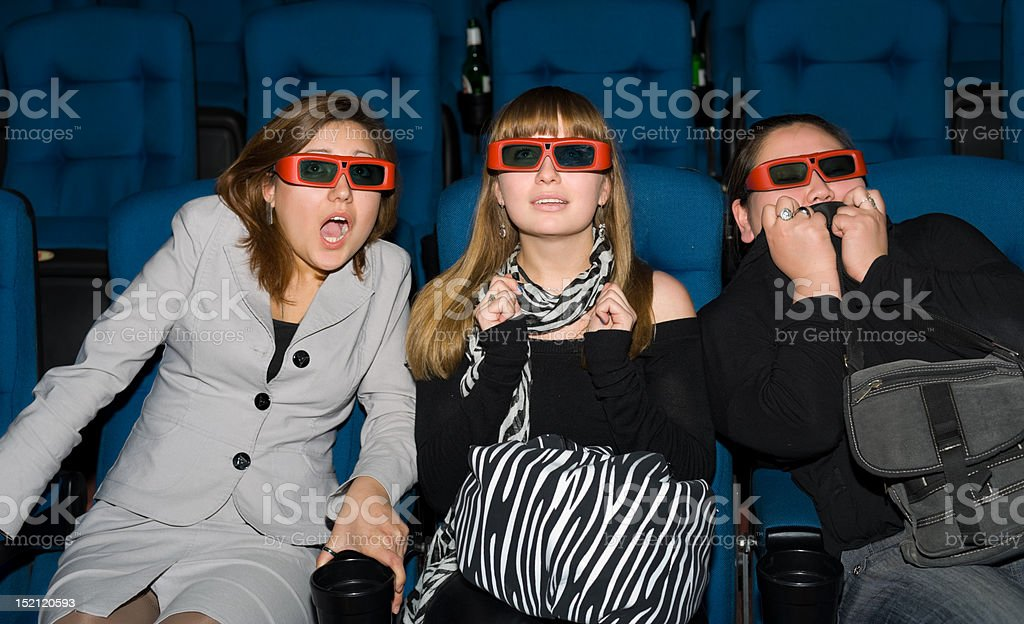 viewers of 3D movie theater stock photo