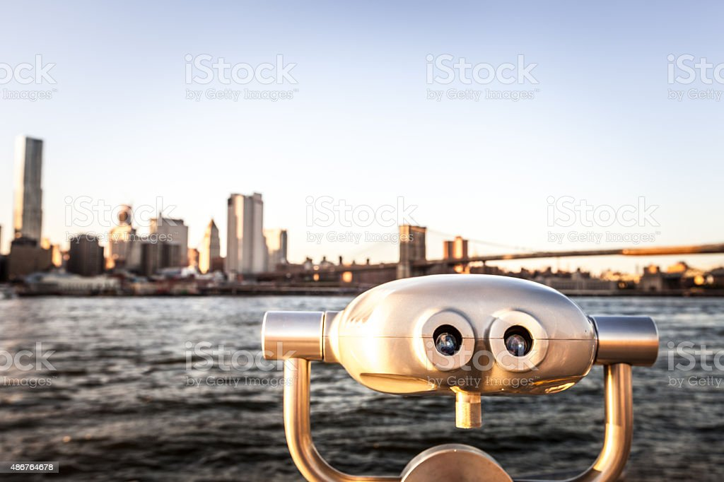 Viewfinder pointed at the Brooklyn Bridge stock photo