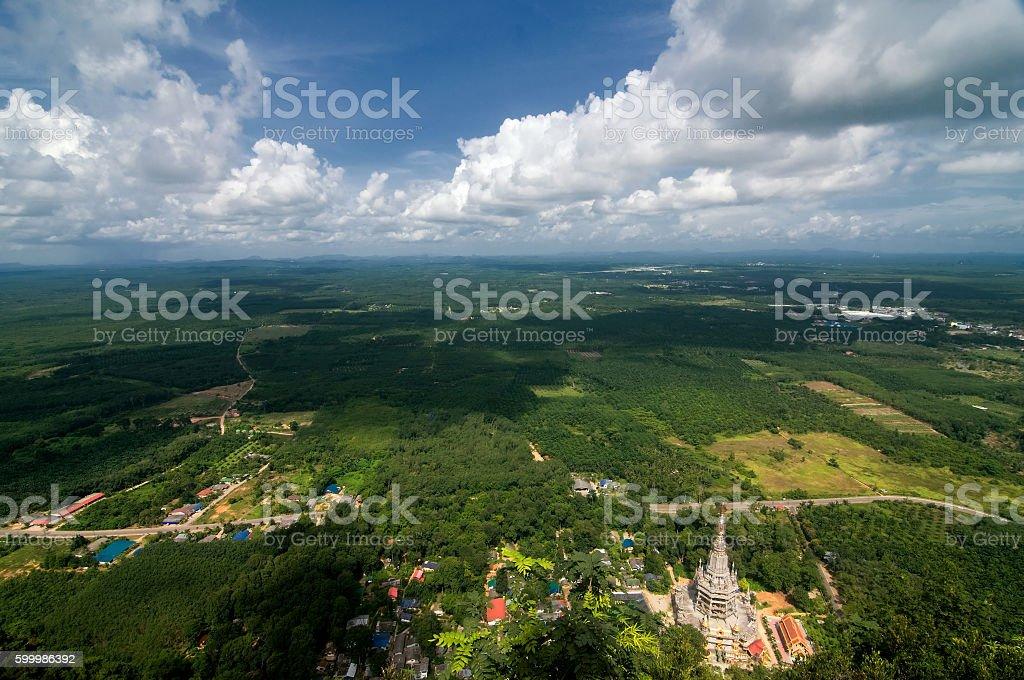 Viewing from Wat Tham Seua (Tiger Cave), Krabi, Thailand stock photo