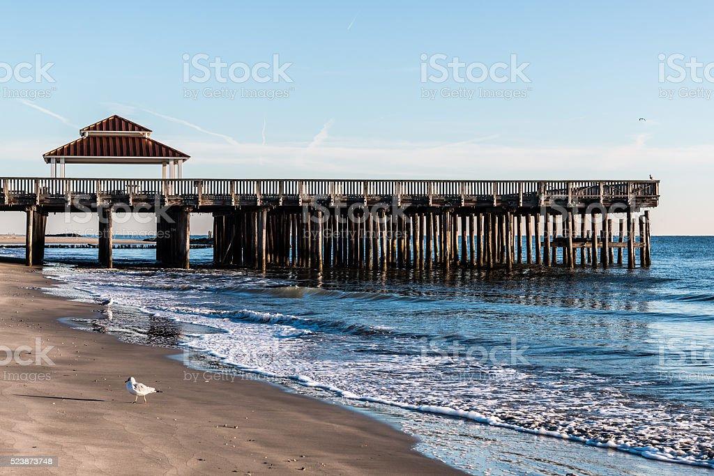 Viewing Pier and Gazebo at Buckroe Beach stock photo