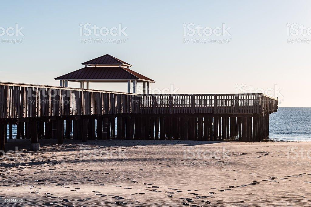 Viewing Pier at Buckroe Beach, Hampton, VA stock photo