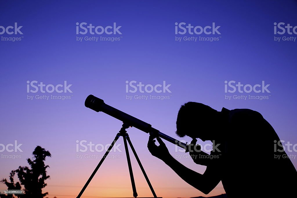 Viewing Stars through telescope royalty-free stock photo
