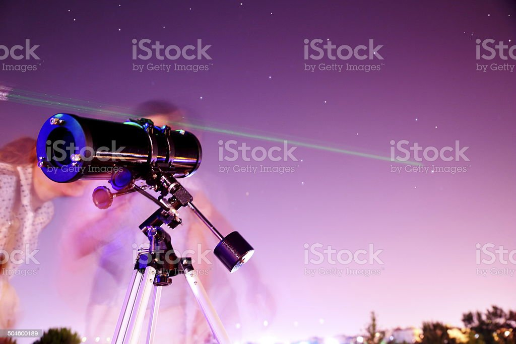 Viewing Stars through telescope stock photo