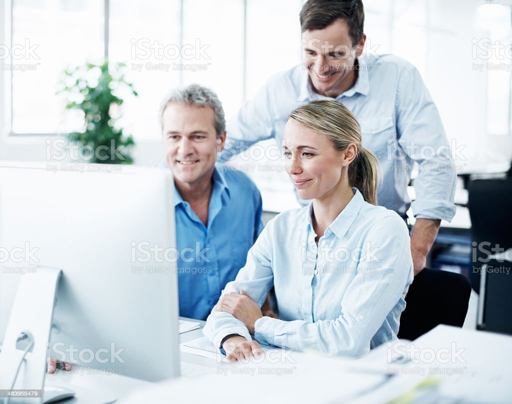 Viewing their final presentation together royalty-free stock photo
