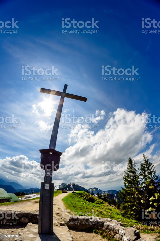 Viewn on summit cross on the top of Brauneck mountain stock photo