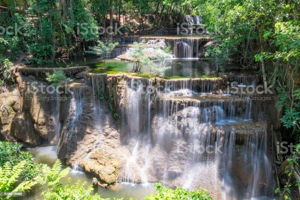 Viewpoint 4 floor waterfall natural freshness at huai mae khamin stock photo