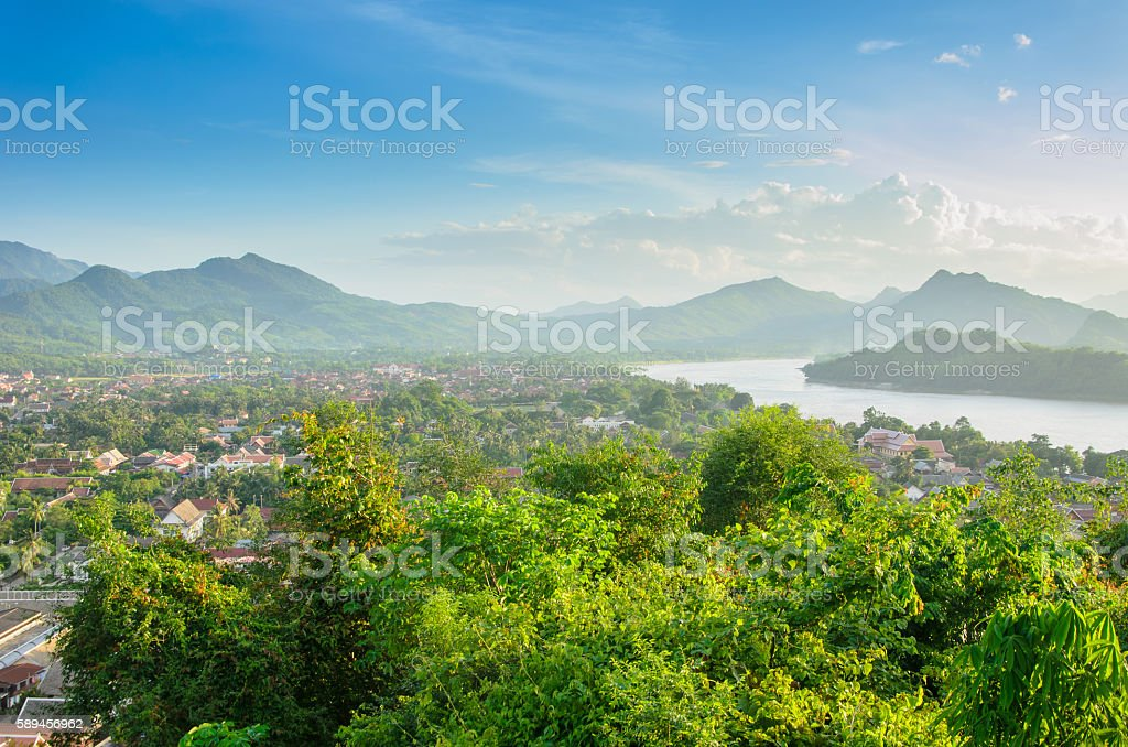 Viewpoint and landscape in luang prabang, Laos. stock photo