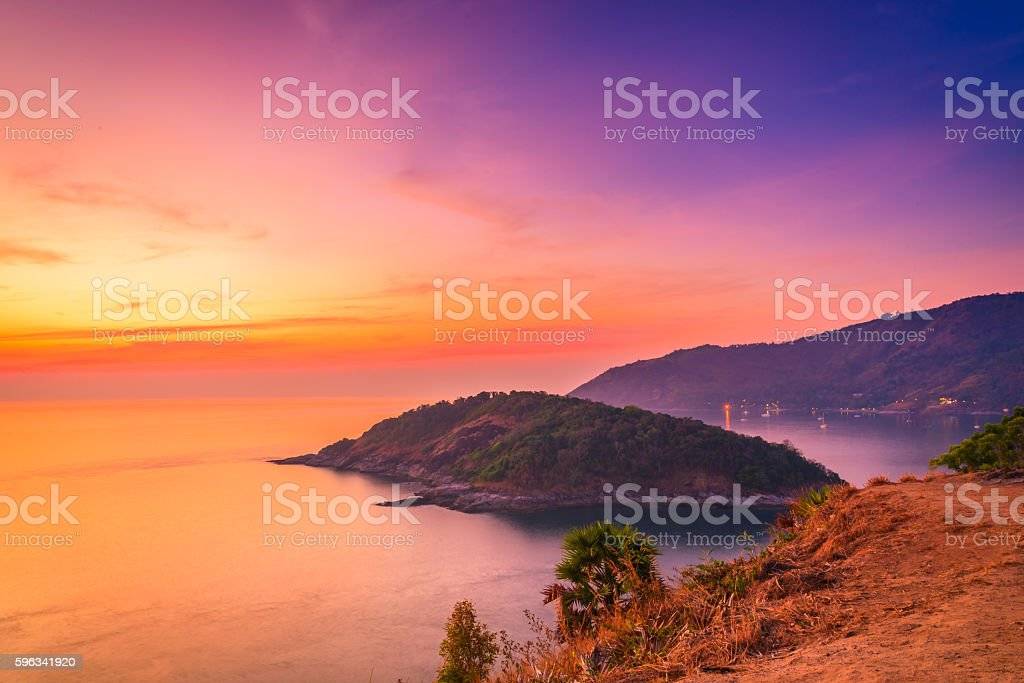 Viewpoint andaman sea at twilight sky in Phuket,Thailand stock photo