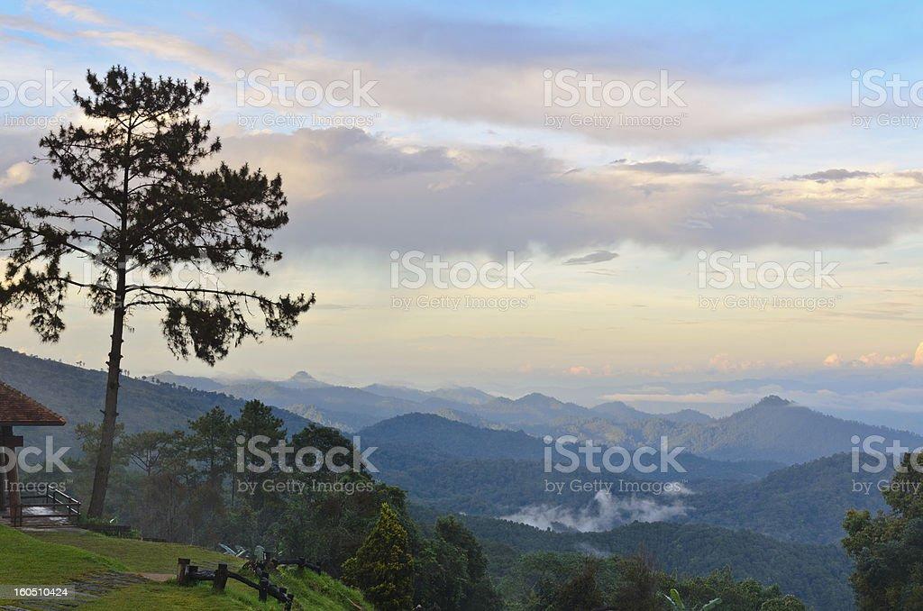 Viewpoint in national park. Huai Nam Dang. Thailand. stock photo
