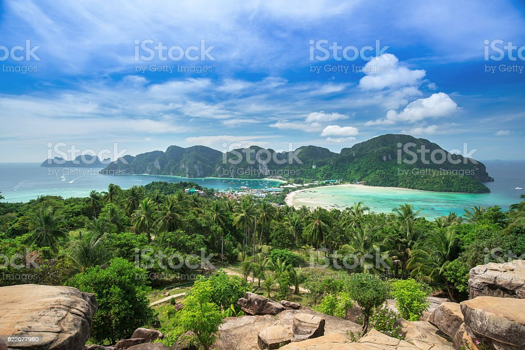 Viewpoint of Phi Phi Island at sunset time, Krabi, Thailand stock photo