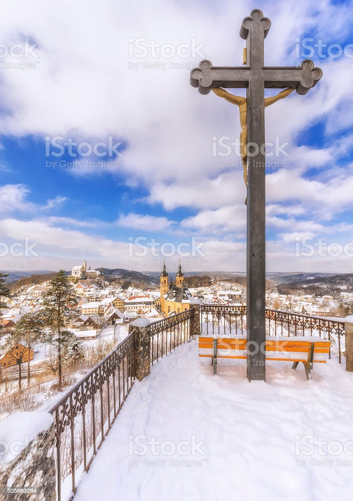 Viewpoint on Gössweinstein in winter stock photo