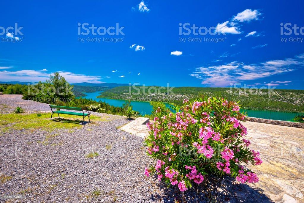 Viewpoint on Krka river national park cliffs, Dalmatia, Croatia stock photo