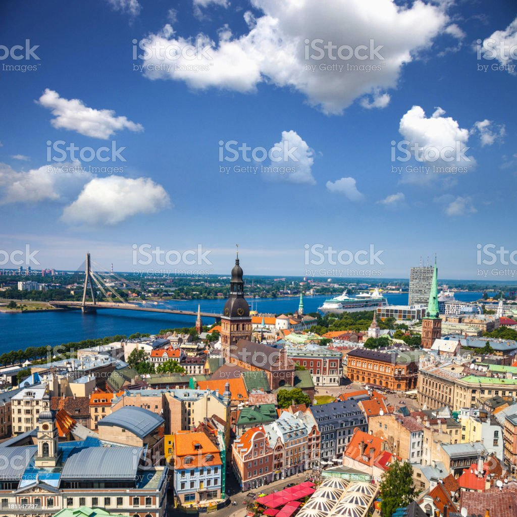 Viewpoint on Riga Old Town stock photo