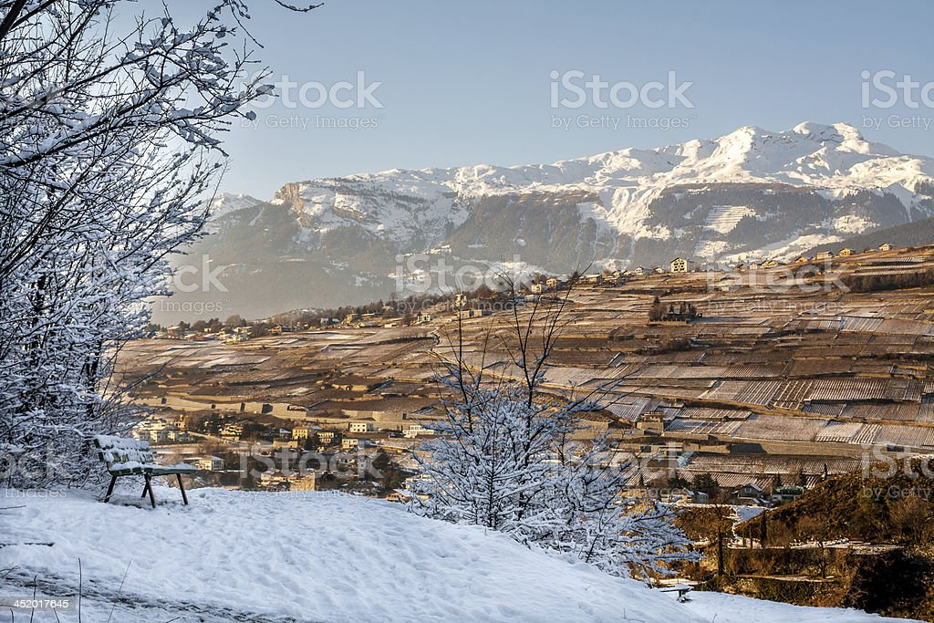Viewpoint on the hill in Sion, Switzerland stock photo