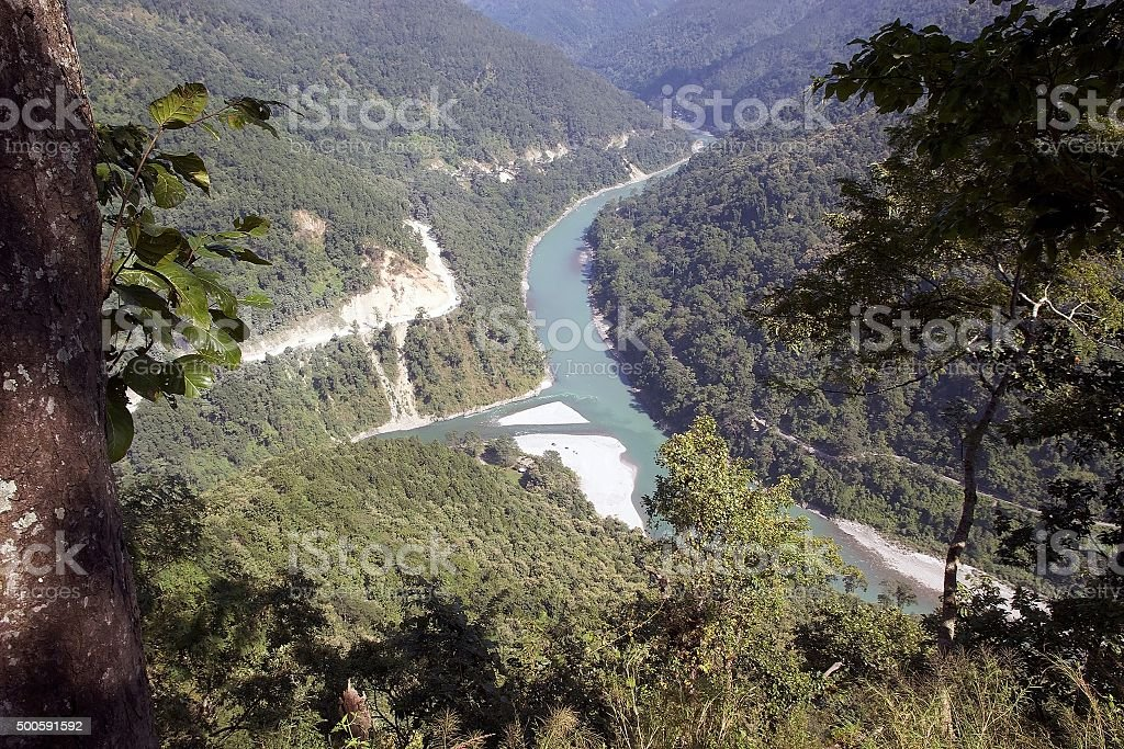 Viewpoint over the Rangit river and Teesta river, India stock photo