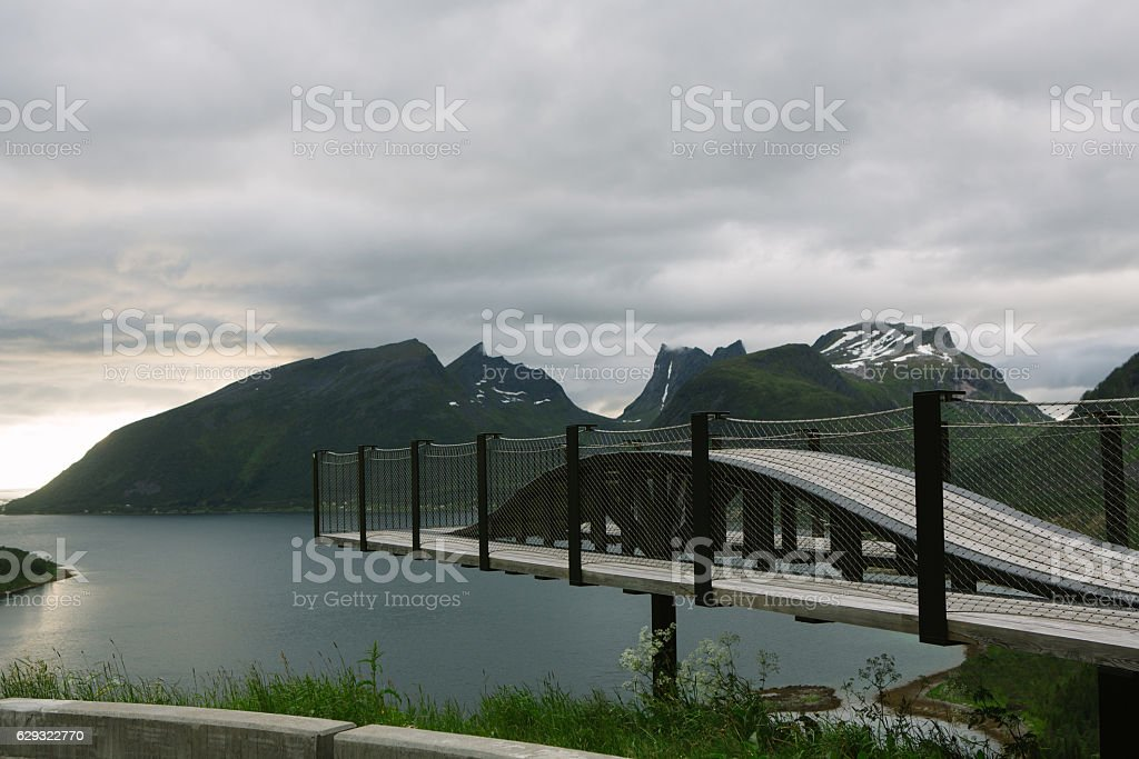 Viewpoint to Skaland, Senja, Norway stock photo