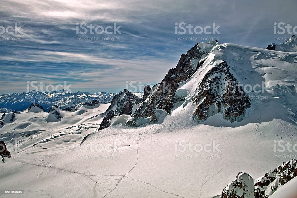 Views from aiguille du midi stock photo