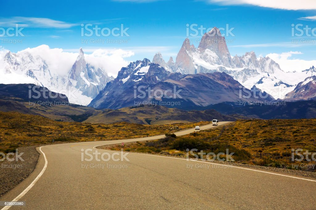 Views from highway at peaks of Andes stock photo