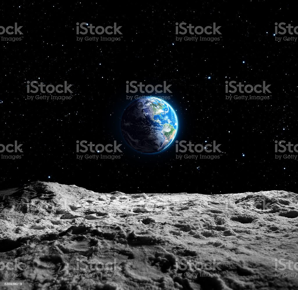 Views of Earth from the moon surface stock photo